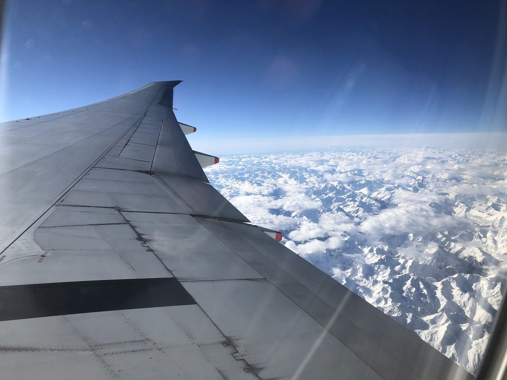 singapore airline over the alps