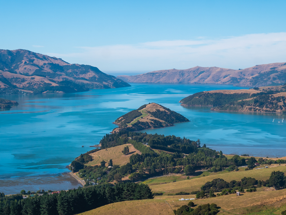 new zealand bank peninsula view from scenic road